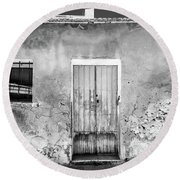 Round Beach Towel featuring the photograph Rustic Building. by Gary Gillette