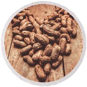 Rustic Country Peanut Heart. Natural Foods Round Beach Towel