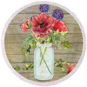 Rustic Country Red Poppy W Alium N Ivy In A Mason Jar Bouquet On Wooden Fence Round Beach Towel