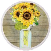 Rustic Country Sunflowers In Mason Jar Round Beach Towel