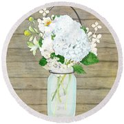 Rustic Country White Hydrangea N Matillija Poppy Mason Jar Bouquet On Wooden Fence Round Beach Towel
