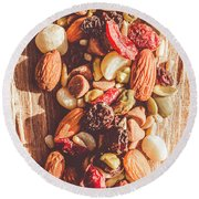 Rustic Dried Fruit And Nut Mix Round Beach Towel