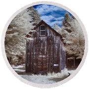 Rustic Farm Building In Infrared Round Beach Towel