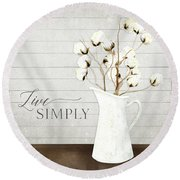 Rustic Farmhouse Cotton Boll Milk Pitcher Live Simply Round Beach Towel