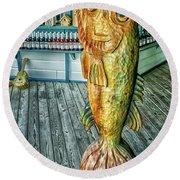 Rustic Fish Round Beach Towel
