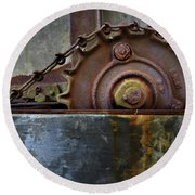 Round Beach Towel featuring the photograph Rustic Gear And Chain by David and Carol Kelly