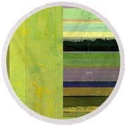 Round Beach Towel featuring the painting Rustic Green Flag With Stripes by Michelle Calkins