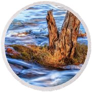 Round Beach Towel featuring the photograph Rustic Island, Noble Falls by Dave Catley