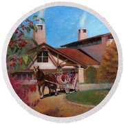 Round Beach Towel featuring the painting Rustic Lodge by Nancy Lee Moran