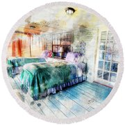 Rustic Look Bedroom Round Beach Towel