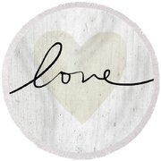 Round Beach Towel featuring the mixed media Rustic Love Heart- Art By Linda Woods by Linda Woods