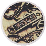 Rustic Love Icons Round Beach Towel