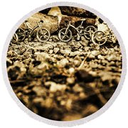Rustic Mountain Bikes Round Beach Towel