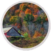 Rustic Out Building In Southern Ohio  Round Beach Towel