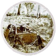 Rustic Rural Decay Round Beach Towel