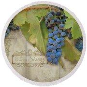 Rustic Vineyard - Shiraz Wine Grapes Over Stone Round Beach Towel