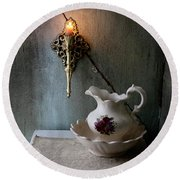 Rustic Water Closet With Brass Sconce And A Pretty Floral Patter Round Beach Towel