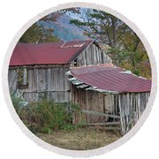 Round Beach Towel featuring the photograph Rustic Weathered Hillside Barn by John Stephens