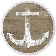 Round Beach Towel featuring the mixed media Rustic White Anchor- Art By Linda Woods by Linda Woods