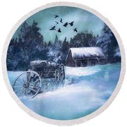 Rustic Winter Barn  Round Beach Towel