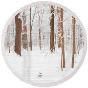 Rustic Winter Forest Round Beach Towel by Dan Sproul