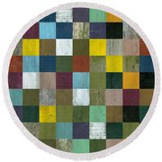 Rustic Wooden Abstract Round Beach Towel
