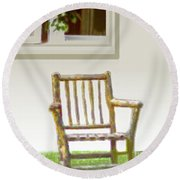 Rustic Wooden Rocking Chair Round Beach Towel