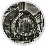 Rusting Locomotive Round Beach Towel
