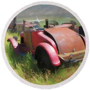 Rusty 1926 Chevy Cabriolet And Friends Round Beach Towel