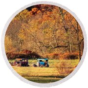 Round Beach Towel featuring the photograph Rusty And Oldie by Eduard Moldoveanu