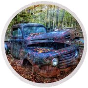 Round Beach Towel featuring the photograph Rusty Blue Vintage Ford  Truck by Debra and Dave Vanderlaan