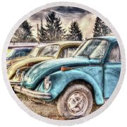 Round Beach Towel featuring the photograph Rusty Bugs by Jean OKeeffe Macro Abundance Art