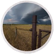 Round Beach Towel featuring the photograph Rusty Cage  by Aaron J Groen