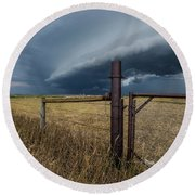 Round Beach Towel featuring the photograph Rusty Cage Horizontal  by Aaron J Groen