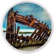 Rusty Forgotten Shipwreck Round Beach Towel