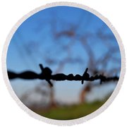Round Beach Towel featuring the photograph Rusty Gate Rural Tree by Matt Harang