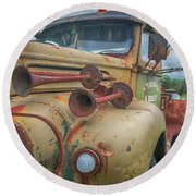 Round Beach Towel featuring the photograph Rusty Horns by Guy Whiteley
