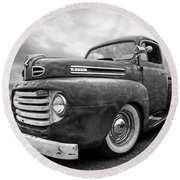 Rusty Jewel In Black And White - 1948 Ford Round Beach Towel