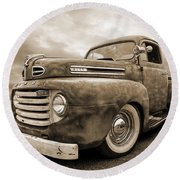 Rusty Jewel In Sepia - 1948 Ford Round Beach Towel