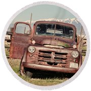 Round Beach Towel featuring the photograph Rusty Old Dodge by Ely Arsha