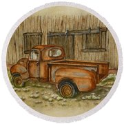 Round Beach Towel featuring the painting Rusty Old Ford Pickup Truck by Kelly Mills