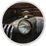Round Beach Towel featuring the photograph Rusty Old Headlight  by Kim Hojnacki