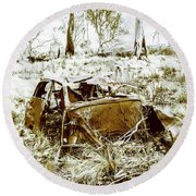Rusty Old Holden Car Wreck  Round Beach Towel
