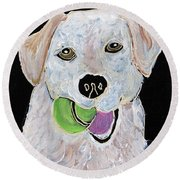 Round Beach Towel featuring the painting Rusty On Canvas by Janice Rae Pariza