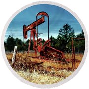 Rusty Pump Jack Round Beach Towel