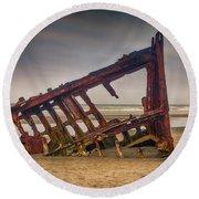 Rusty Shipwreck Round Beach Towel