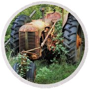 Rusty Tractor 3  Round Beach Towel