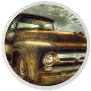 Rusty Truck Round Beach Towel by Mal Bray