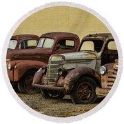 Rusty Trucks Round Beach Towel by Steven Parker