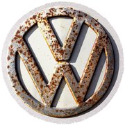Vintage Vw Sign Round Beach Towel